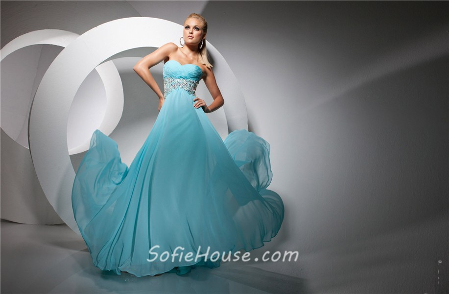 24d9d28be862f ... A Line Princess Sweetheart Empire Long Blue Chiffon Evening Prom Dress  With Beading