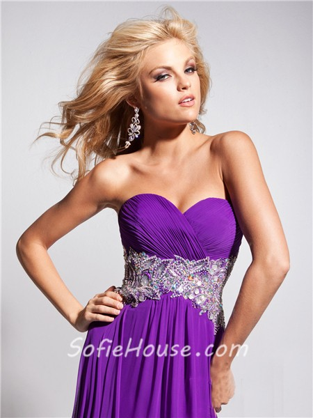 Long purple sweetheart prom dress