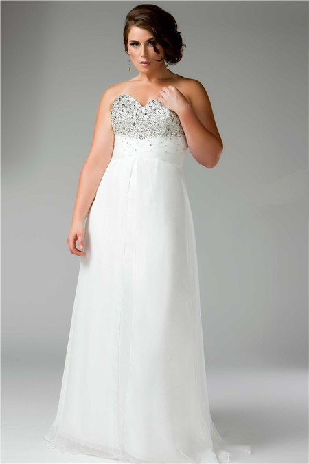 A Line Princess Sweetheart Empire Long White Chiffon Beaded Plus ...