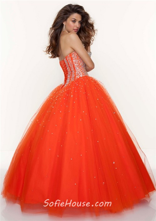 orange a line sweetheart prom gown