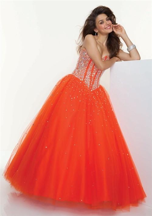 A Line Princess Sweetheart Floor Length Orange Tulle Prom