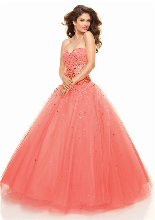 183b81dfc93 A-Line Princess Sweetheart Floor-Length coral tulle prom dress with sequins