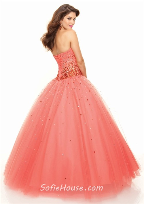 d036bf1fa06 ... A-Line Princess Sweetheart Floor Length coral tulle prom dress with  sequins ...