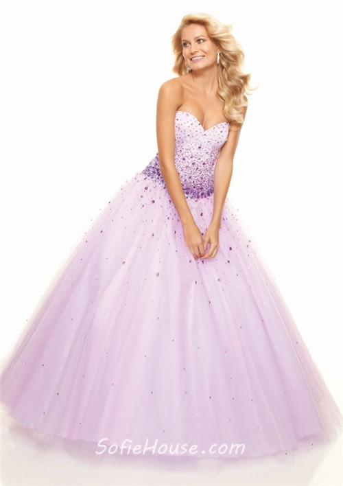 A-Line/Princess Sweetheart Floor-Length coral tulle prom dress with ...