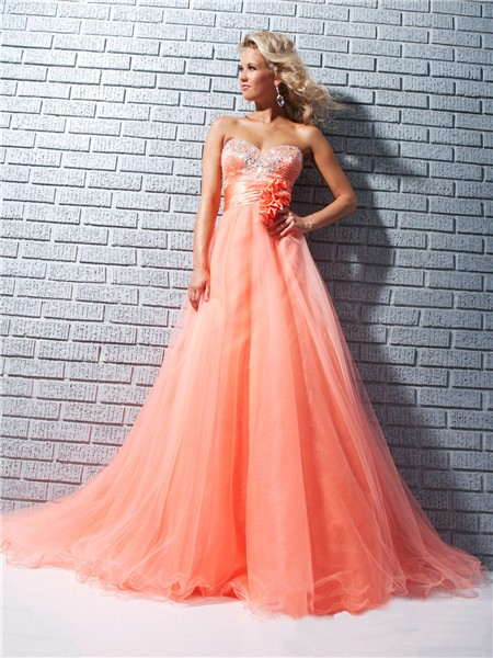 A Line Princess Sweetheart Long Coral Tulle Beaded Prom
