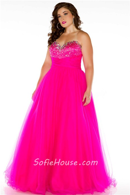 A Line Princess Sweetheart Long Royal Blue Tulle Beaded Plus Size