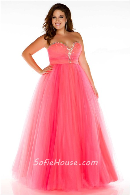 A Line Princess Sweetheart Long Blue Tulle Beaded Plus Size Evening ...