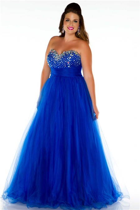 Line Princess Sweetheart Long Royal Blue Tulle Beaded Plus Size ...