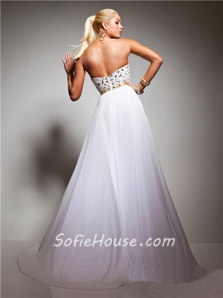 A Line Princess Sweetheart Long White Chiffon Gold Beaded Evening ...