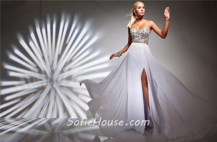 white chiffon a line sweetheart dress