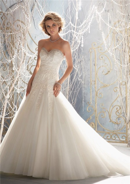 A line princess sweetheart pleated tulle lace beaded for Tulle a line wedding dress