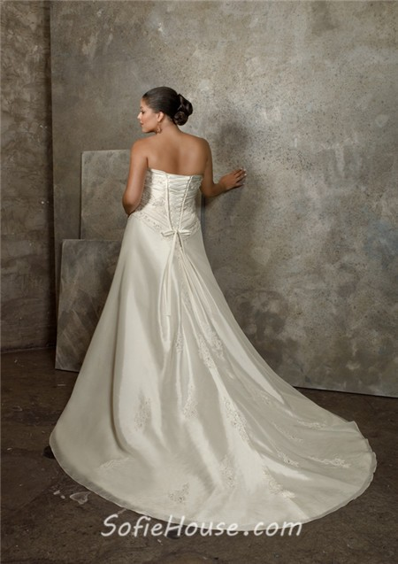 A line princess sweetheart ruched taffeta lace plus size for Corset wedding dresses plus size
