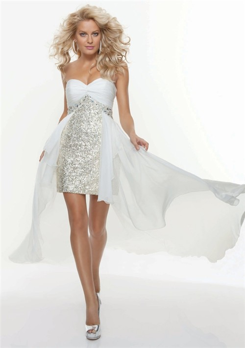 A Line Princess Sweetheart Silver Sequin Prom Dress With
