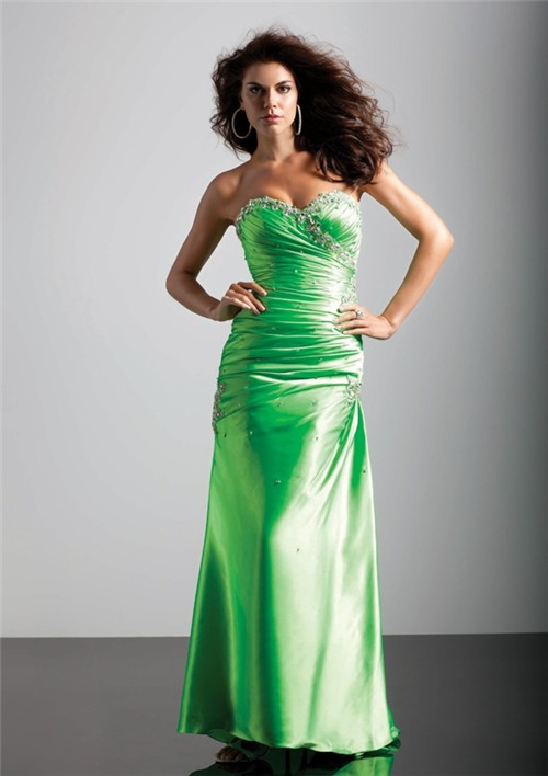 A Line Princess Sweetheart Long Green Silk Prom Dress With