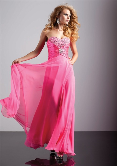 Line/Princess sweetheart long hot pink chiffon prom dress with ...