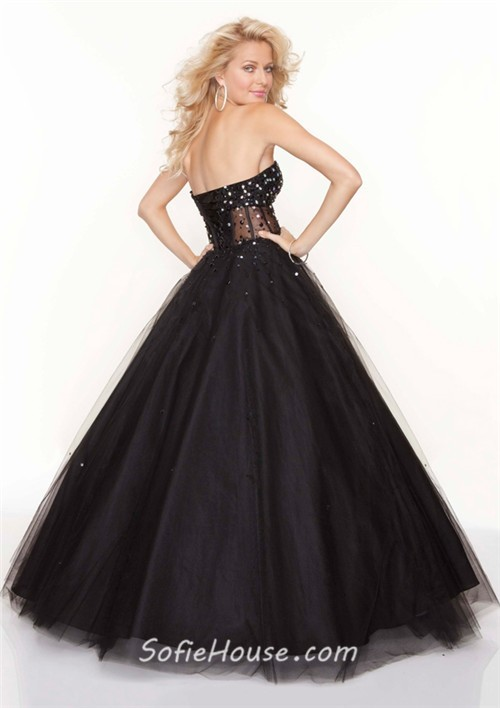 alineprincess sweetheart see through black tulle prom