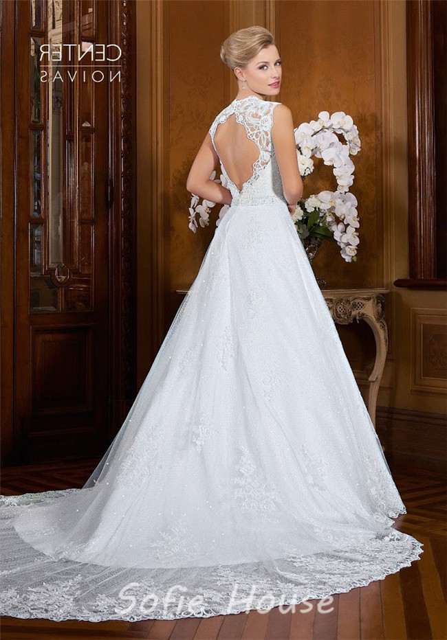 A Line Queen Anne Neckline Open Back Two In One Wedding Dress ...
