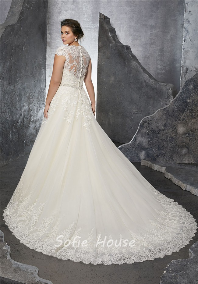 A Line Queen Anne Neckline Tulle Lace Plus Size Wedding Dress With ...
