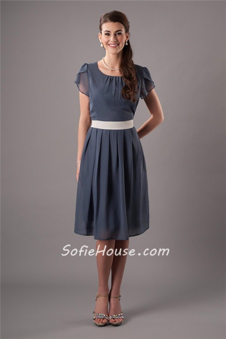 Line Ruffled Sleeve Charcoal Grey Chiffon Short Bridesmaid Dress ...