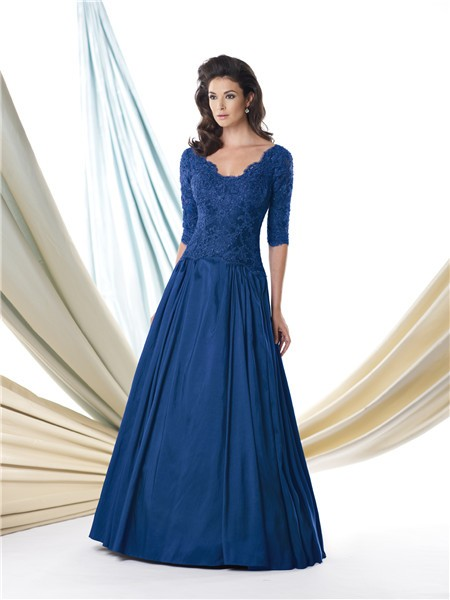 A Line Scalloped Neck Royal Blue Taffeta Lace Sleeve