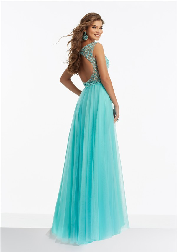 A Line Scoop Neck Open Back Long Aqua Tulle Beaded Prom Dress