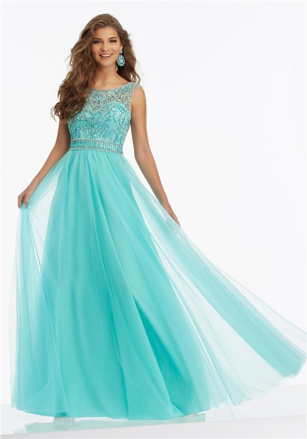 A Line Prom Dresses Aqua