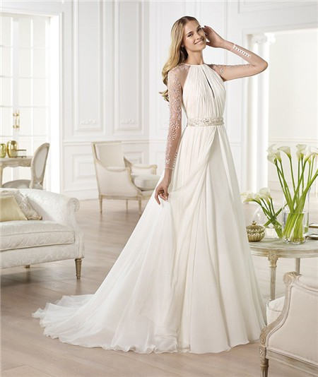 A line scoop neck open front sheer back chiffon wedding for Long sleeve chiffon wedding dress