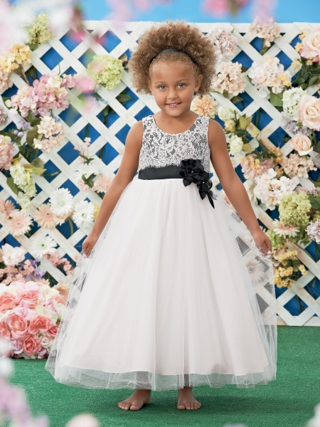 a line scoop white black tulle lace wedding flower girl