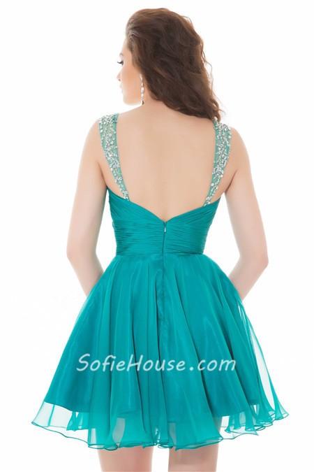 short teal prom dresses