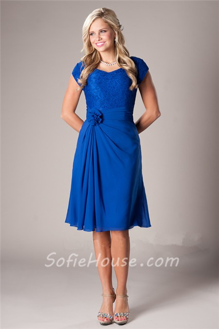 A Line Short Sleeves Royal Blue Chiffon Lace Party