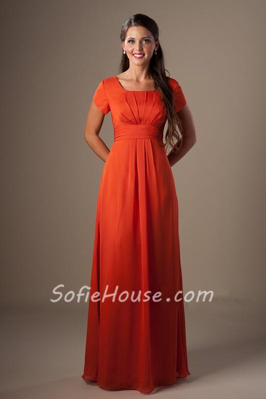 A Line Square Neck Orange Chiffon Long Modest Bridesmaid