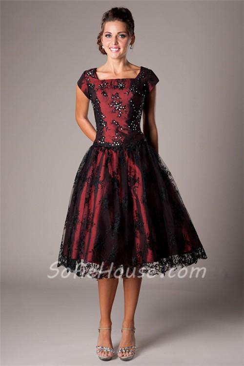 Black Lace Tea Length Dresses