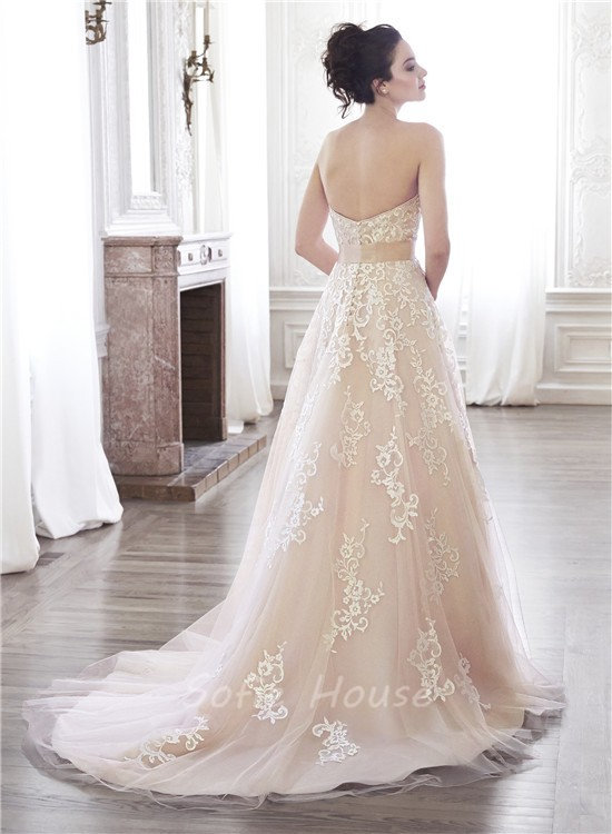 Lace Dress with a Colored Sash