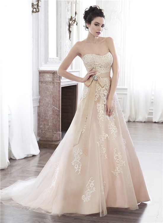 A line strapless champagne color lace applique wedding for Champagne color wedding dresses