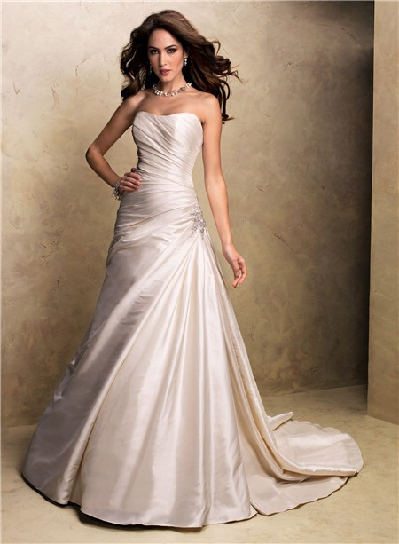 A line strapless champagne colored satin wedding dress for A line strapless wedding dresses