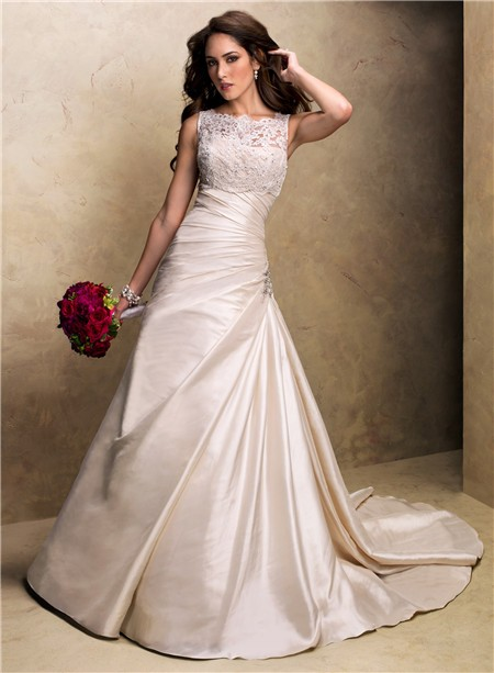 A line strapless champagne colored satin wedding dress for Satin a line wedding dress