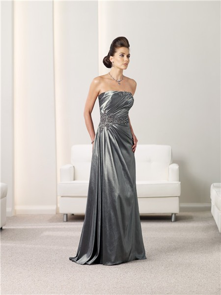 Line Strapless Charcoal Grey Taffeta Mother Of The Bride Evening ...