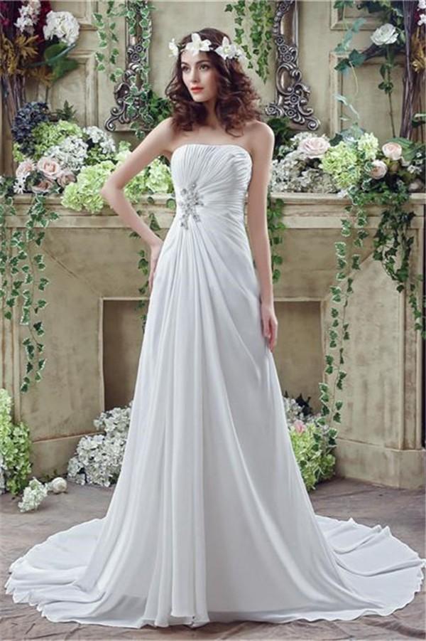 dresses for garden wedding. a line strapless corset back chiffon draped destination garden wedding dress dresses for