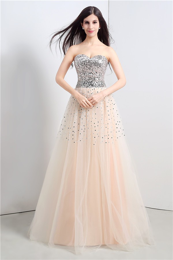 A Line Strapless Corset Back Long Champagne Tulle Sequin Beaded Prom ...
