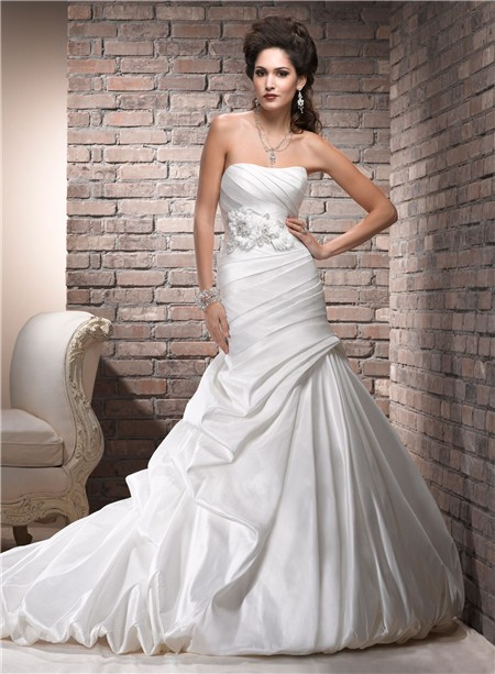 A line strapless corset back ruched taffeta wedding dress for Wedding dresses with a corset