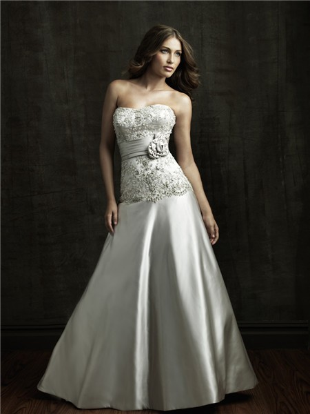 A line strapless dropped waist satin embroidered beaded for Flower embroidered wedding dress