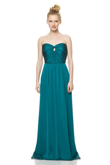A line strapless front keyhole long jade green chiffon for Jade green wedding dresses