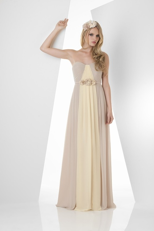 A line strapless long champagne daffodil chiffon two tone for Flowers for champagne wedding dress