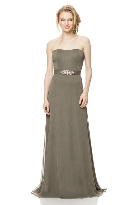A Line Strapless Long Clay Chiffon Special Occasion