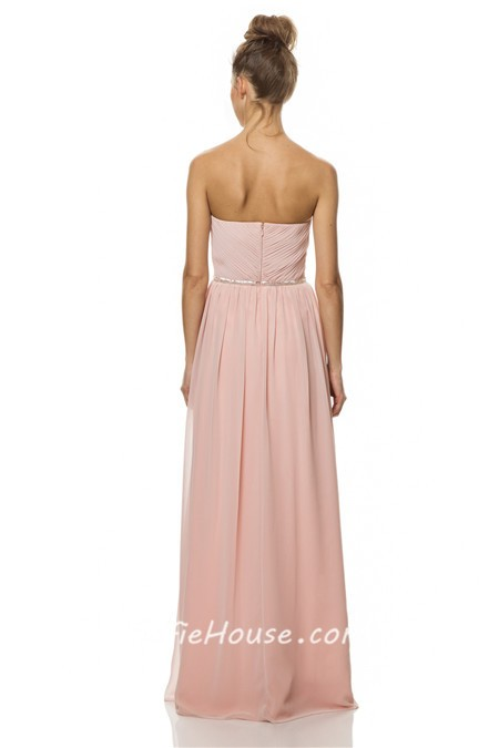 A Line Strapless Long Pearl Pink Chiffon Wedding Party