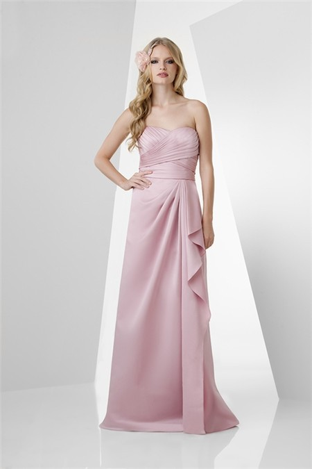 A line strapless long pearl pink satin draped bridesmaid for Pink ruffle wedding dress