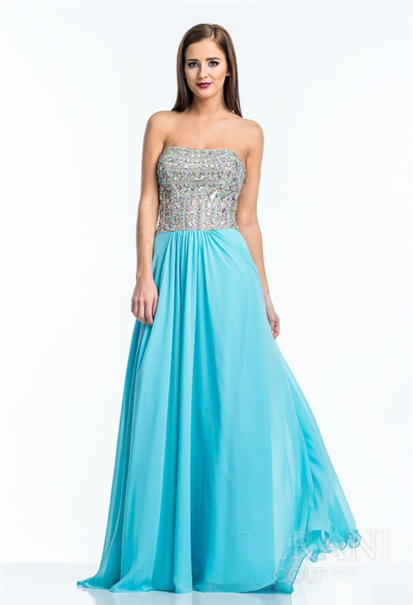 a line strapless long turquoise chiffon sequin beaded prom