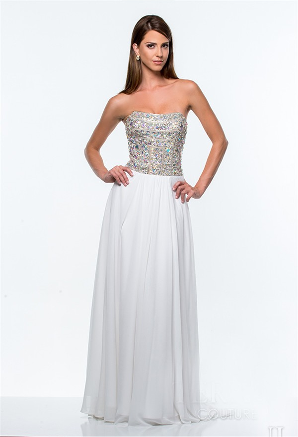 A line strapless long white chiffon rhinestone beaded prom for Strapless wedding dresses with bling