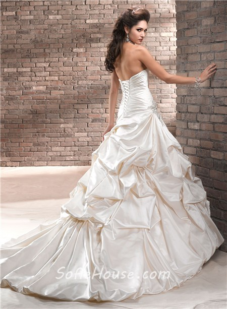 A Line Strapless Ruched Champagne Cream Colored Satin Wedding Dress ...