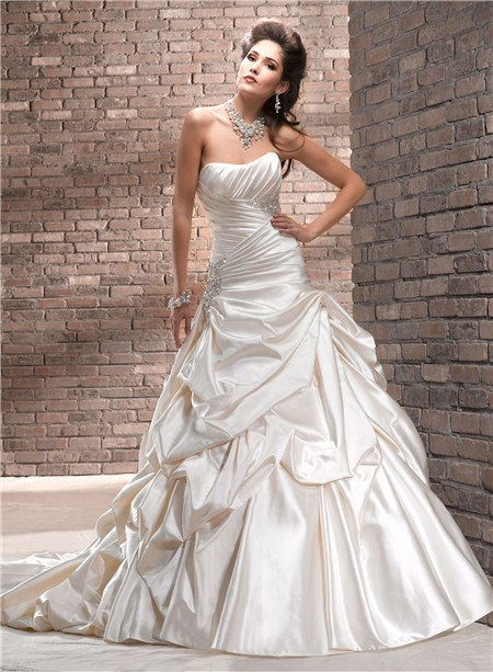 A line strapless ruched champagne cream colored satin for Cream colored lace wedding dresses